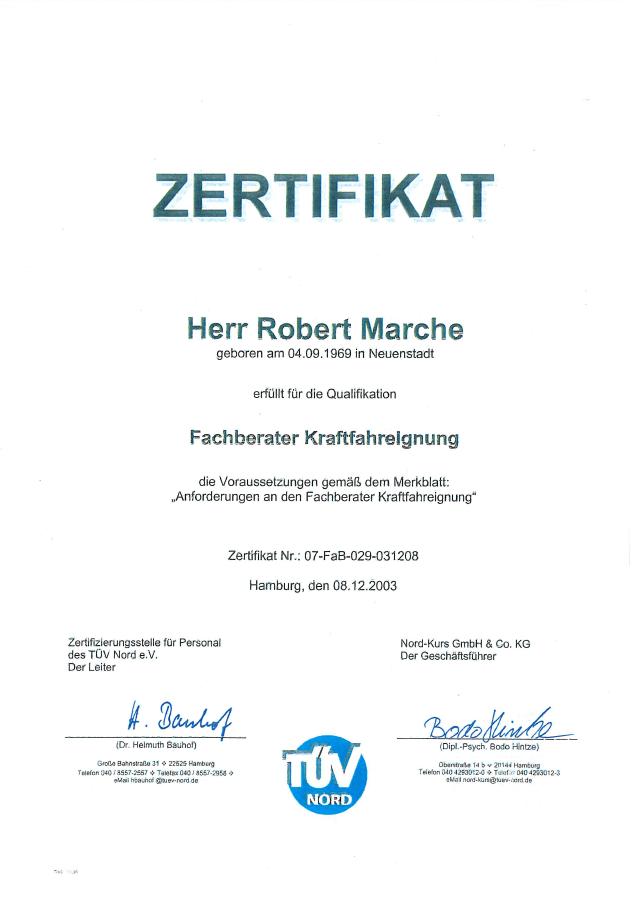 Robert-Marche-TUEV-Nord-Zertifikat