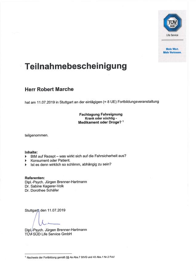 Robert-Marche-TUEV-Sued-Zertifikat